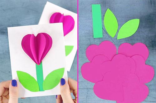 Поделка на 8 марта — подарок в виде цветка из бумаги для любимой мамы